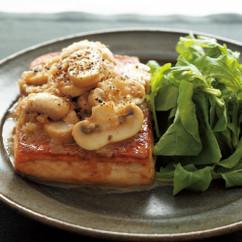 豆腐ステーキ アンチョビきのこソース