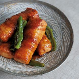 豆腐の豚肉巻き照り焼き