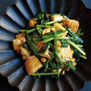 豆腐とにらのカレー炒め