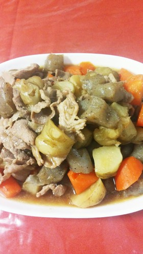 豚バラ肉と菊芋の煮物