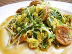 ポン酢で水菜と魚肉ソーセージの卵とじ
