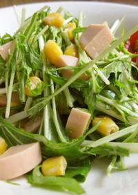 水菜と魚肉ソーセージのマヨポン酢サラダ