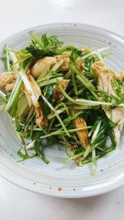 水菜とむね肉のシャキシャキピリ辛サラダ☆の写真