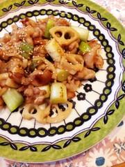 ご飯が進む♡豚バラと蓮根と長葱の甘酢炒めの写真