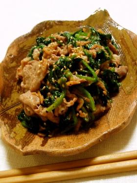 豚肉とほうれん草のゴマ味噌炒め