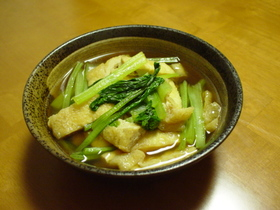 ☆麺つゆで♪小松菜と油揚げの簡単煮びたし