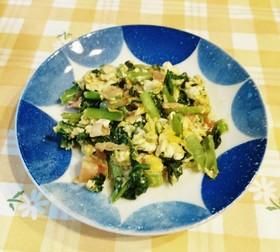 小松菜とベーコンと卵のマヨ醤油炒め