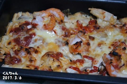 お揚げとエリンギ、海老のチーズ焼き