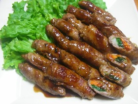 豚肉の三色野菜ロール焼き