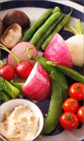 温野菜とチーズみそディップソース