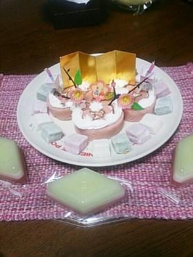 市販ロールケーキで簡単ひな祭りケーキ♪