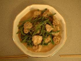 チキンとインゲンのマサラ風炒め煮