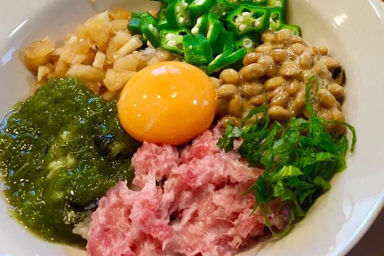 おいしくヘルシーに♩ネバネバ丼 レシピ・作り方 by mame♩ta 【クックパッド】