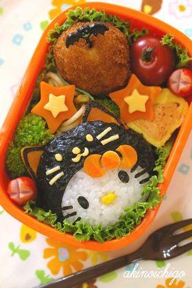 黒猫キティのハロウィン弁当(キャラ弁)