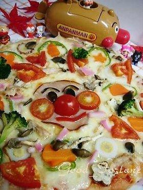 こどもと手作り『あんぱんまんピザ』