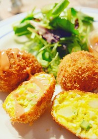 アスパラと卵の可愛い卵形ミモザコロッケ*