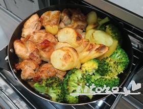 【グリルパン】チキン×野菜のガリバタ醤油