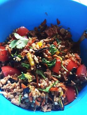 スペルト小麦とニンジンのカリカリサラダ
