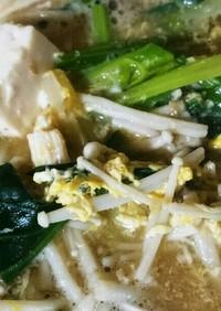 減塩 卵入り豆腐ほうれん草えのき味噌汁