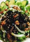 レタスと水菜の粒マスタード添えサラダ