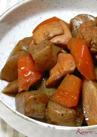 黒糖でコックリ♡鶏肉とゴボウ、人参の煮物