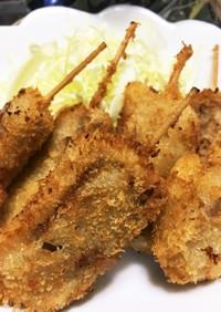 冷凍ステーキ(成型肉)で串カツ風