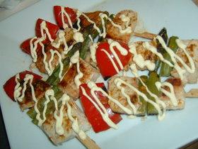 カジキマグロのカレーマヨ串焼き