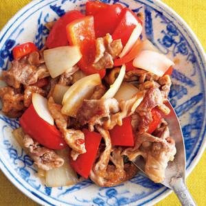 豚こま+赤パプリカ+玉ねぎの「すっきり甘酸っぱだれ」炒め