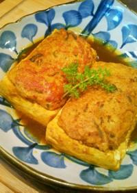 挽き肉のせ豆腐の煮物
