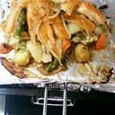 サーモンハラスと野菜のオーブン焼き