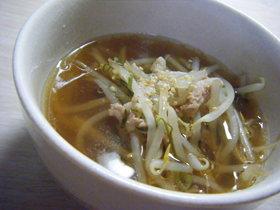もやしと豚肉の中華スープ