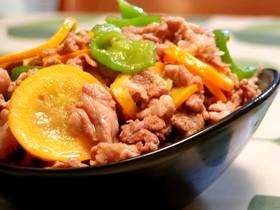 簡単中華★黄色いズッキーニと肉の炒めもの