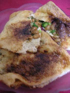 グリルで●納豆とニラの油揚げはさみ焼き