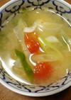 春キャベツとミディトマト、ネギのスープ