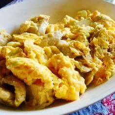 鶏むね肉と厚揚げのふわふわ卵炒め
