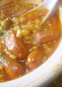 もち麦で雑炊(トマトスープ仕立て)