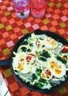 卵とトマトとブロッコリーのツナチーズ焼き