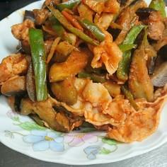 豚キムチ炒め(茄子ピーマン)