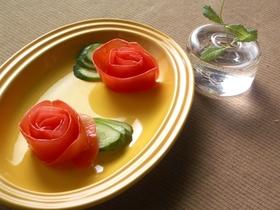 トマトの皮でお花