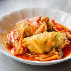 鶏味塩 de トマトのロールキャベツ