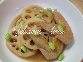 おうち食堂☆鶏手羽とれんこんの炒め煮。