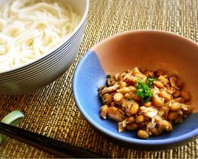 ひっぱりうどん ツナ缶と納豆で作るよ!