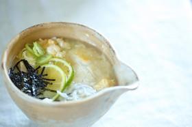 アス飯◎卵とくずし豆腐のおかゆ風スープ