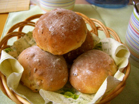レンジで発酵、簡単くるみパン♪