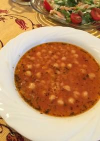 麦とひよこ豆のトマトスープ☆トルコ