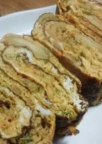 お弁当のおかず:キムチ・青海苔入り卵焼き