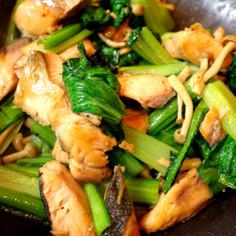 塩鮭と小松菜のオイスター炒め