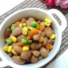 うずら豆とミックスベジのカラフルマリネ