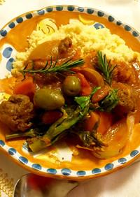 モロッコ☆クスクス&肉春野菜でトマト煮込