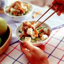 きゅうりと豆腐のなめたけ丼